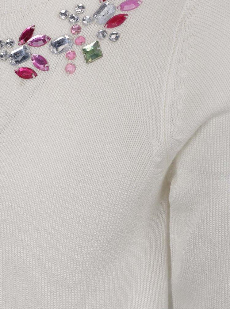 Krémový holčičí svetr s knoflíky a korálkovou aplikací 5.10.15.