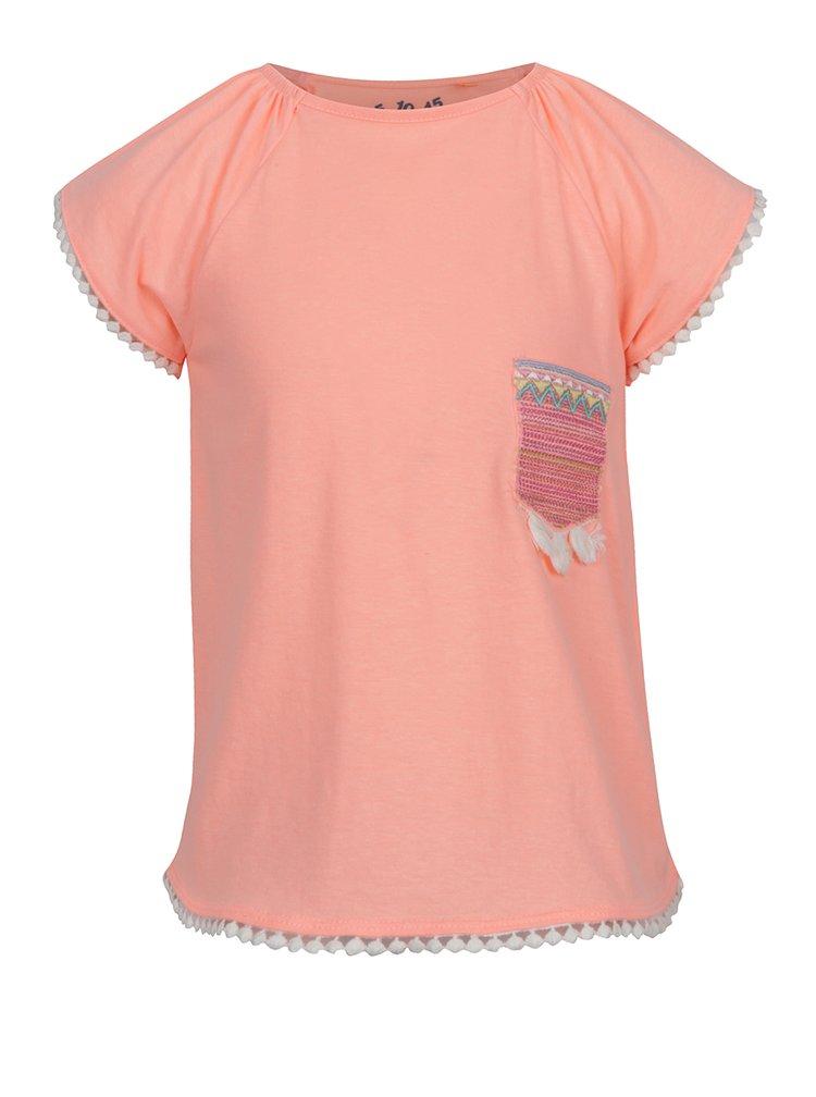 Oranžové holčičí tričko s kapsou 5.10.15.
