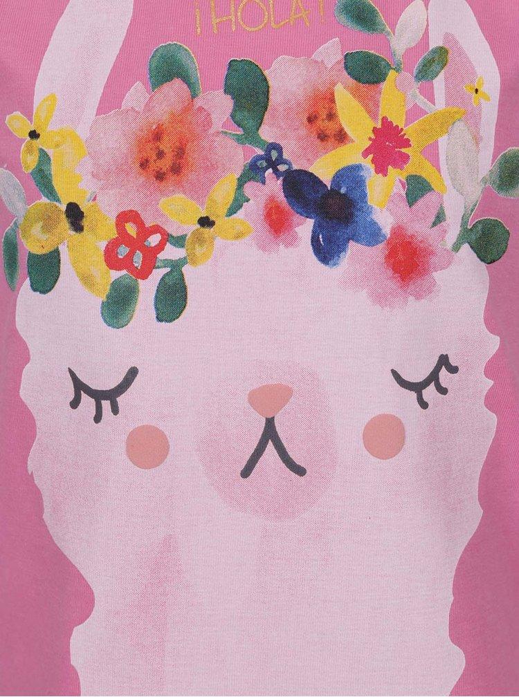 Růžové holčičí tričko s potiskem lamy 5.10.15.