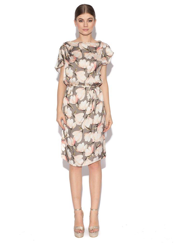 Šedé květované šaty s asymetrickými rukávy a páskem NISSA