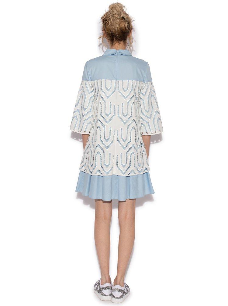 Bielo-modré šaty s golierikom NISSA