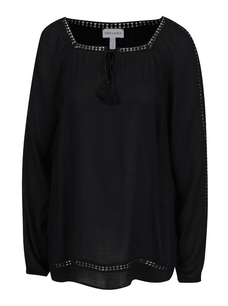Bluza neagra Gina Laura cu ciucuri