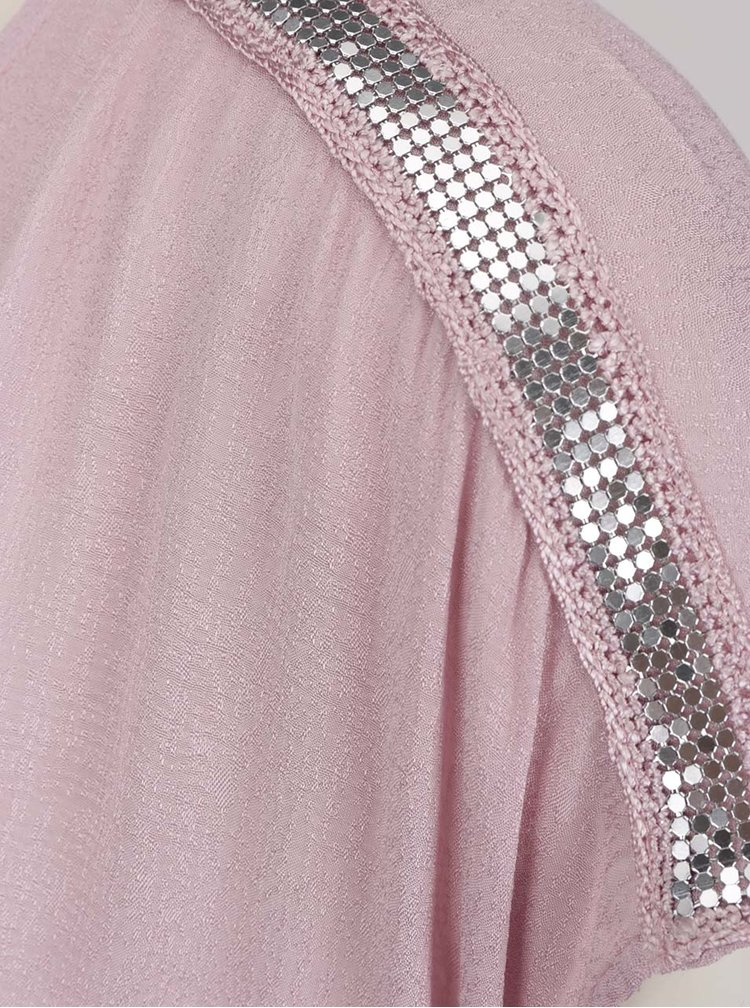 Světle růžová halenka s aplikací ve stříbrné barvě na ramenou Gina Laura