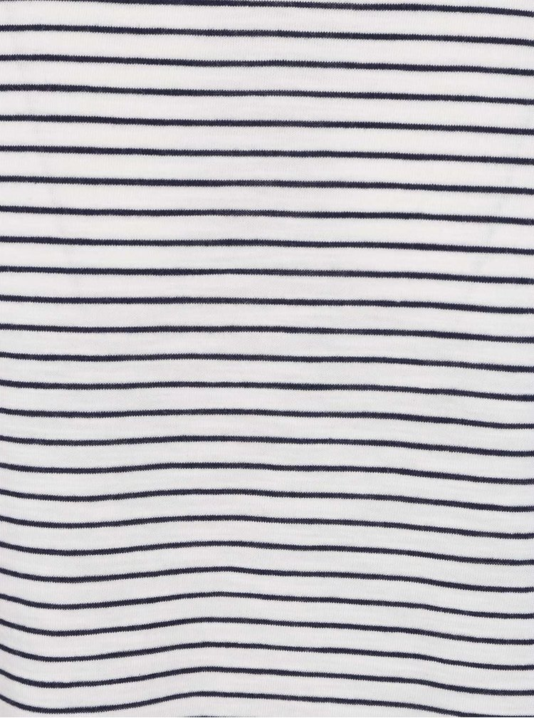 Biele pruhované tričko s dlhým rukávom Burton Menswear London