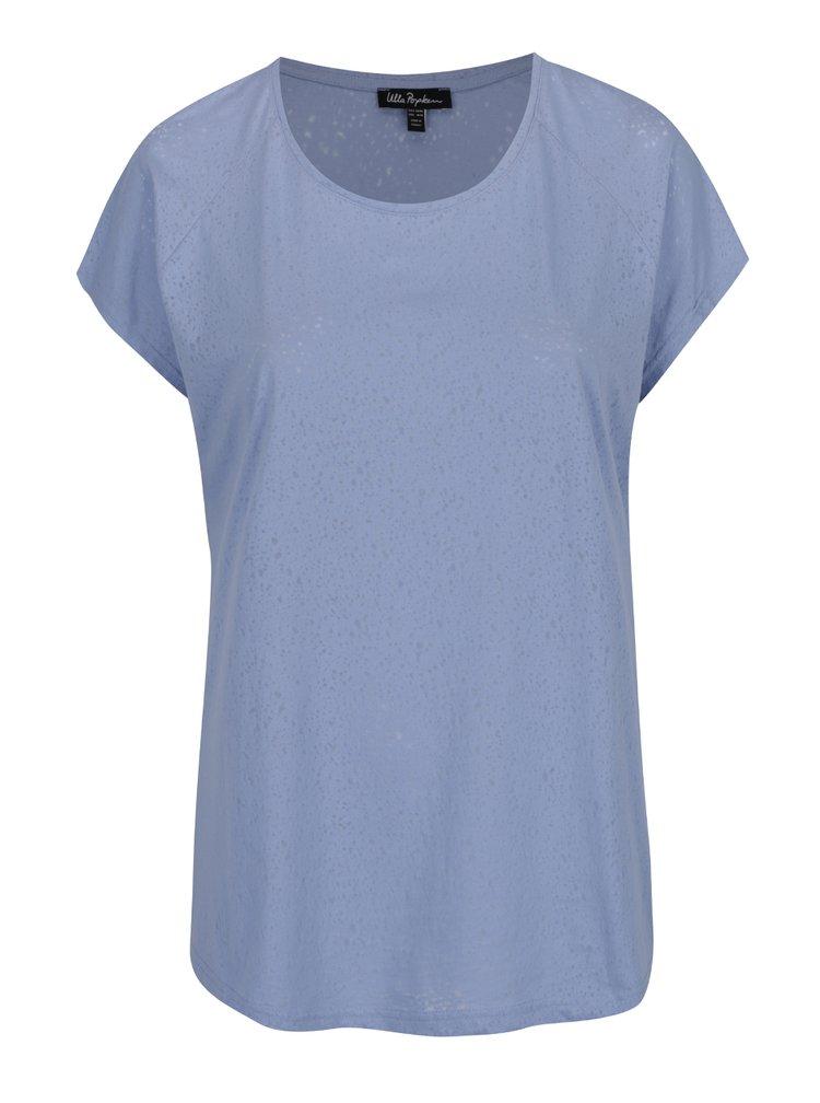 Tricou bleu Ulla Popken cu decolteu rotund
