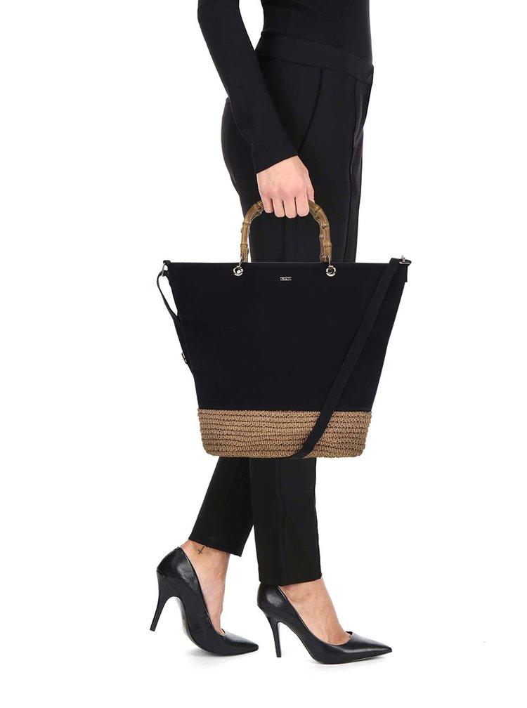 Geanta shopper maro&negru Nalí  cu impletitura din rafie
