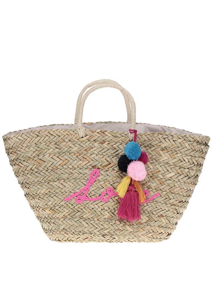 Béžový slamený shopper s brmbolcami Nalí
