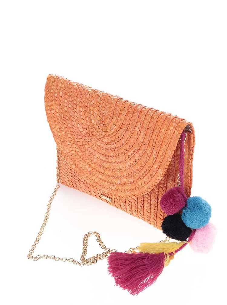 Oranžové slaměné psaníčko/crossbody kabelka s bambulemi Nalí