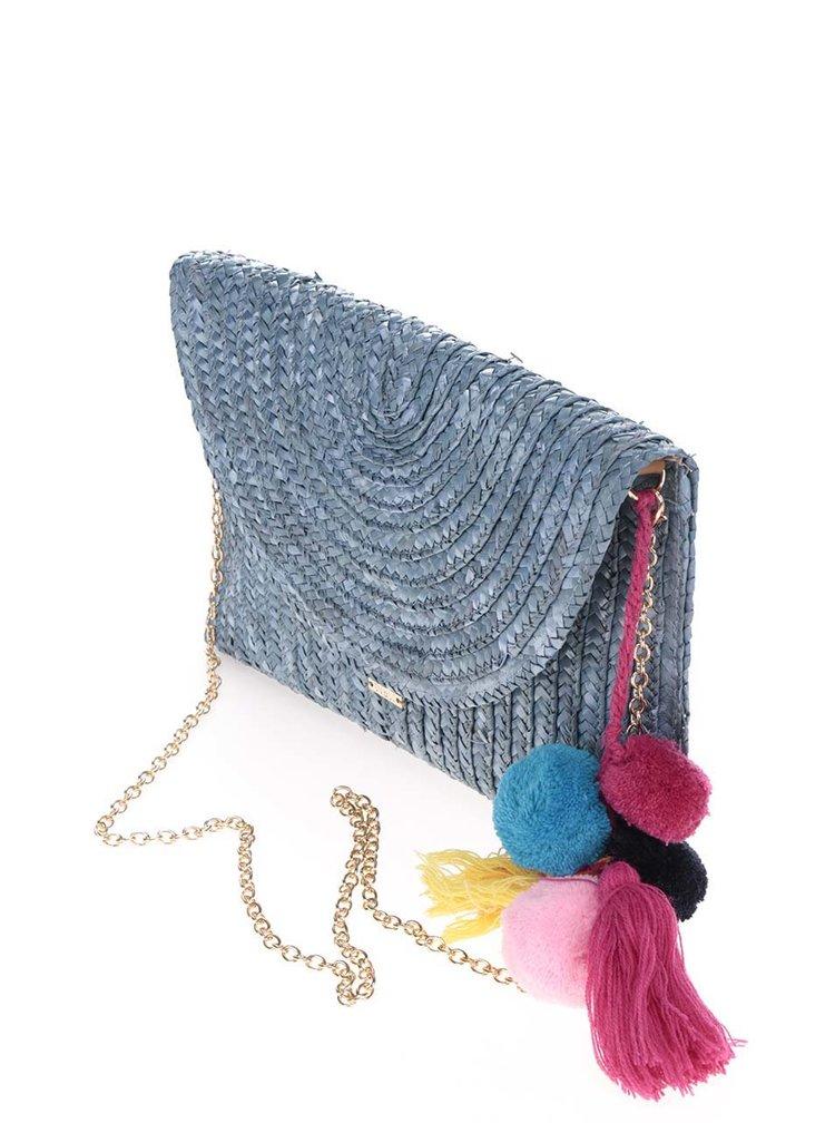 Modré slaměné psaníčko/crossbody kabelka s bambulemi Nalí