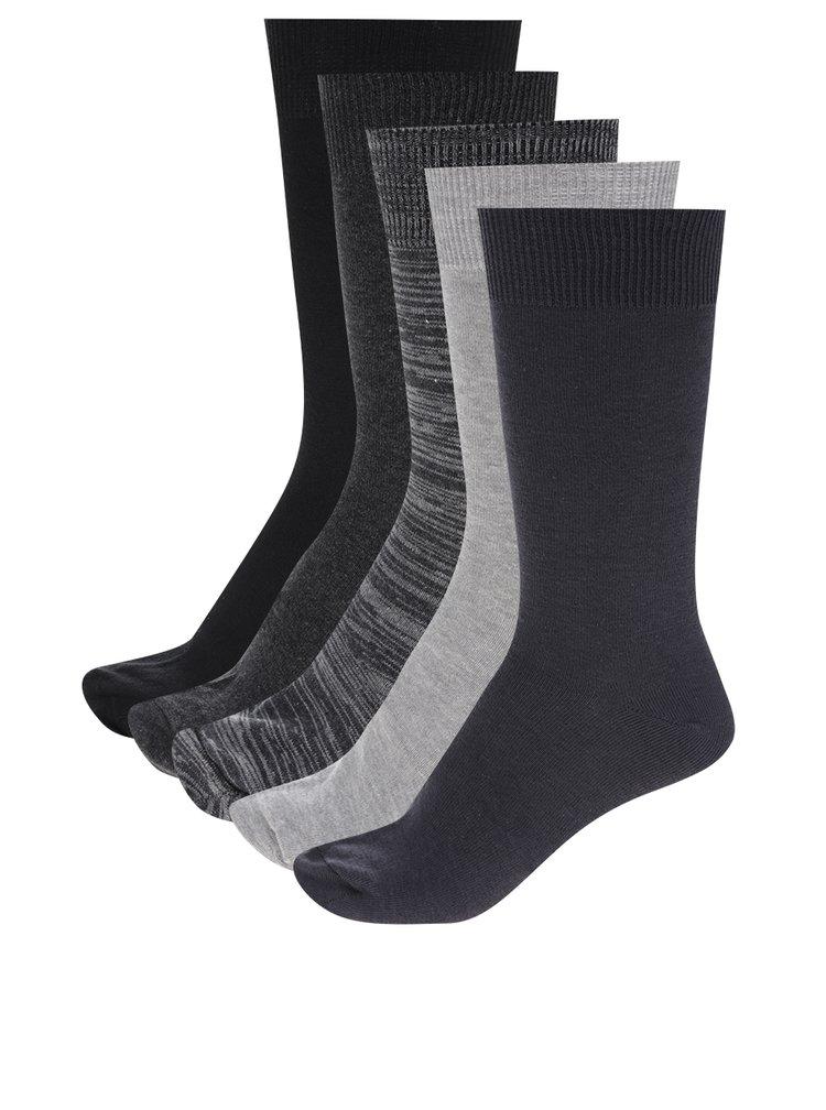 Set de 5 perechi de șosete gri&negru Burton Menswear London
