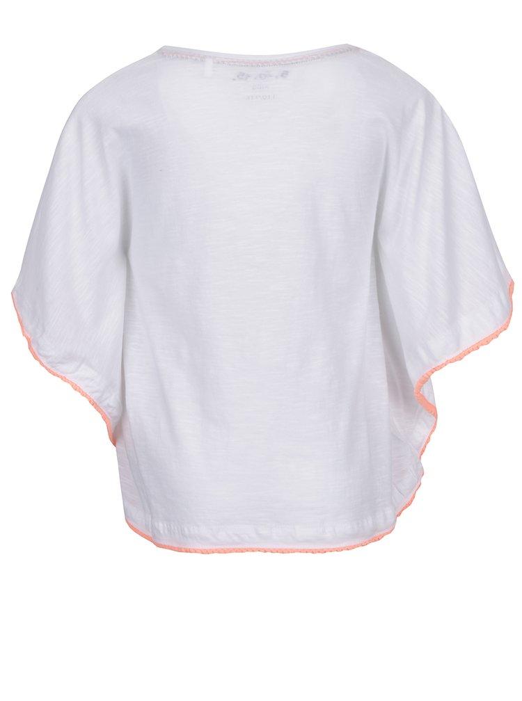 Poncho alb 5.10.15 cu imprimeu pentru fete