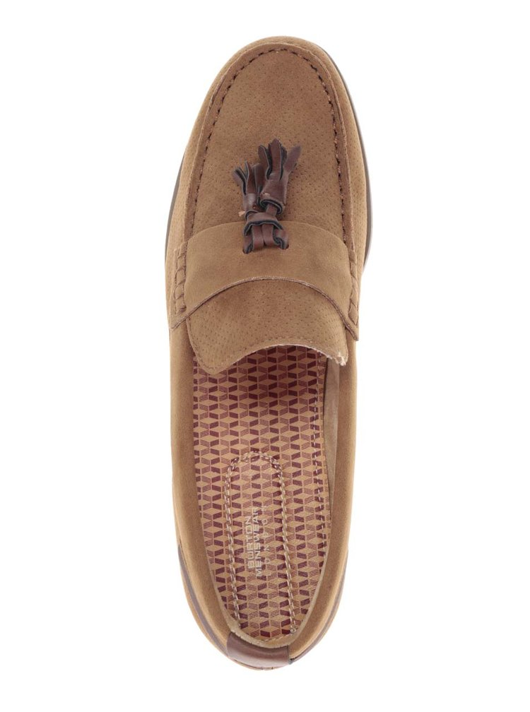 Mocasini maro deschis cu aspect de piele întoarsă Burton Menswear London