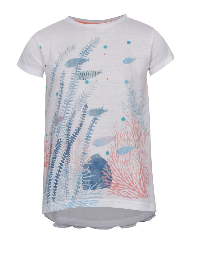 Bílé holčičí tričko s potiskem a plisovaným zadním dílem 5.10.15.