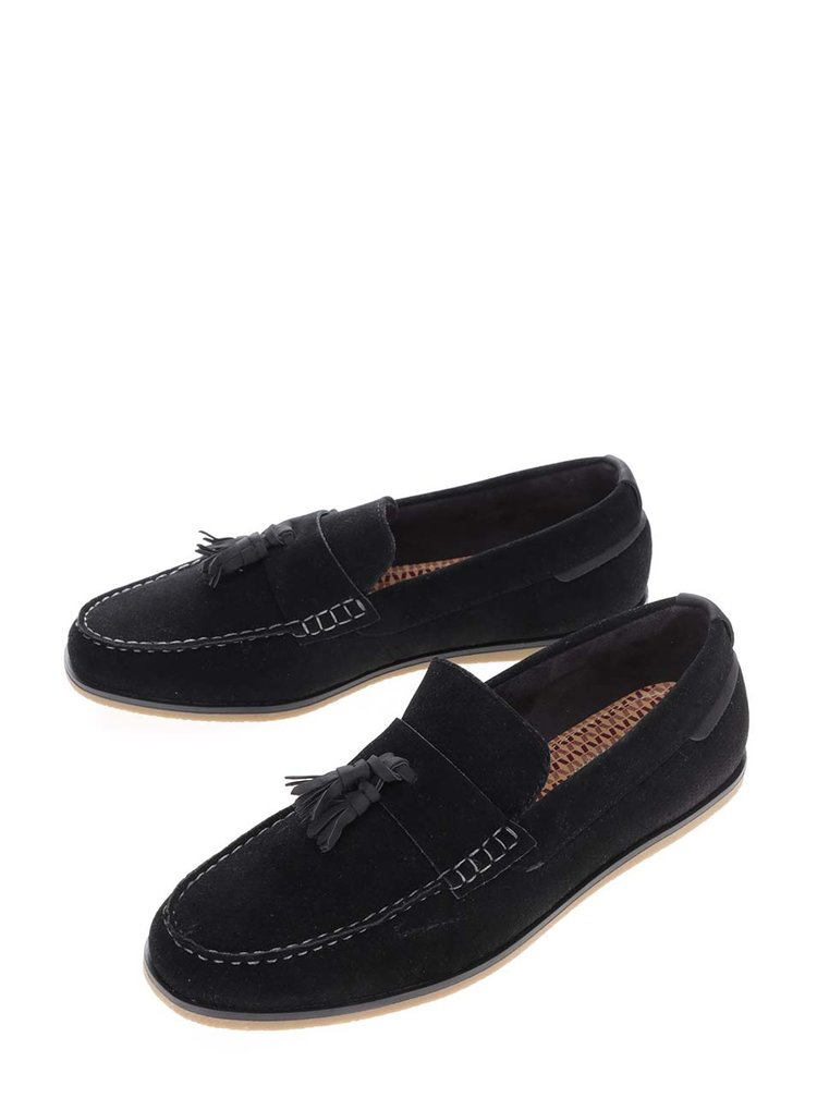 Mocasini negri Burton Menswear London cu aspect de piele întoarsă