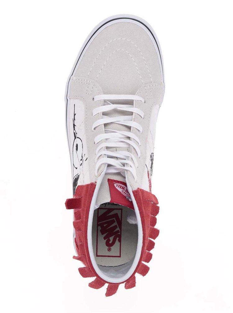 Červeno-krémové dámské kotníkové tenisky s motivem Snoopyho VANS UA SK8