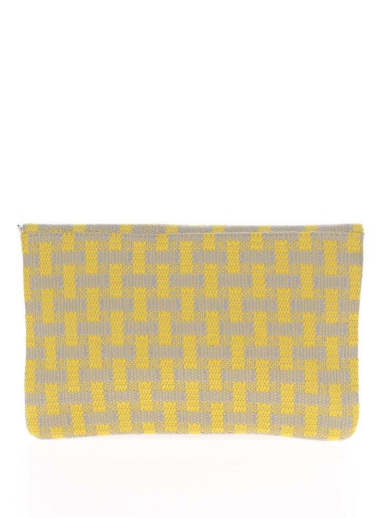 Geanta plic gri&galben  Nalí  cu aplicatii