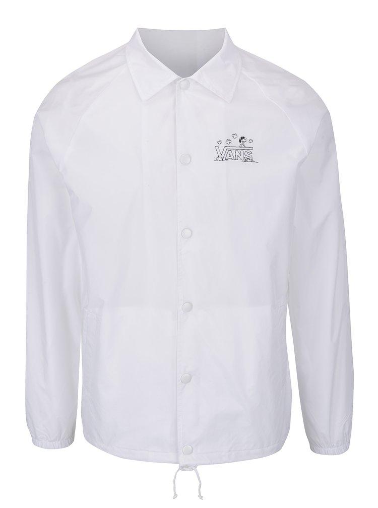 Bílá pánská šusťáková bunda s potiskem Snoopyho VANS Torrey