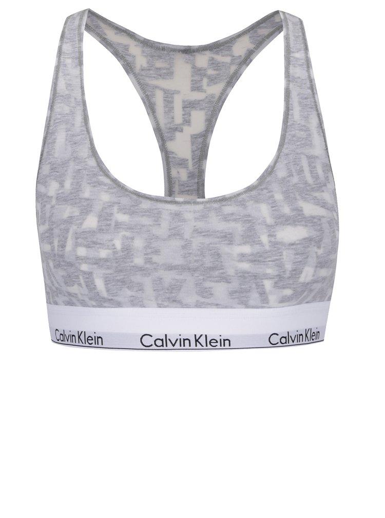 Bílo-šedá sportovní podprsenka Calvin Klein