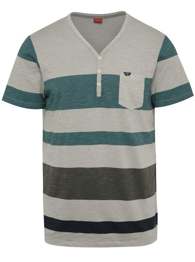 Zeleno-šedé pruhované pánské tričko s.Oliver