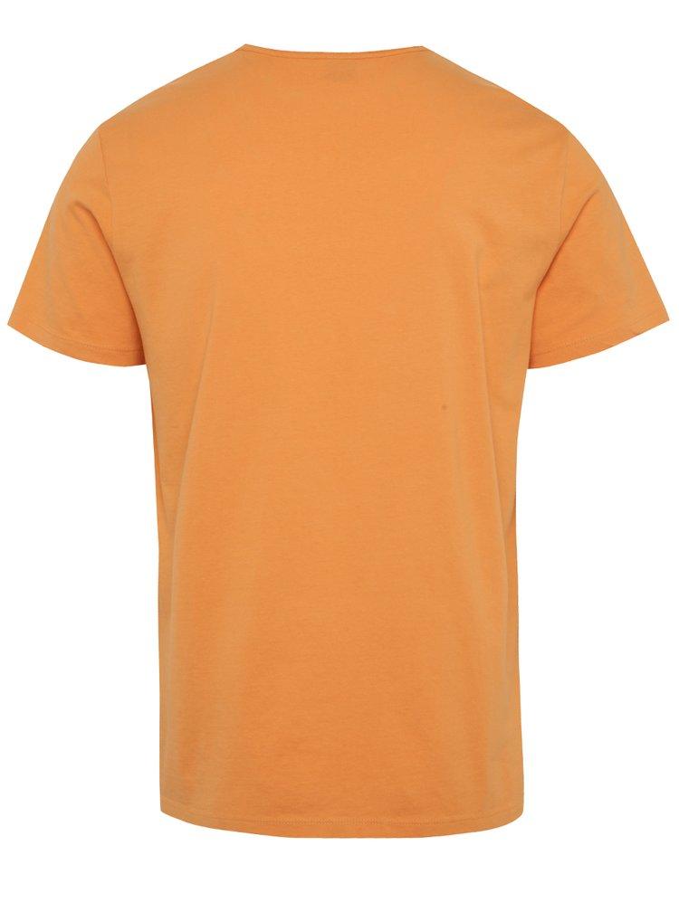Oranžové pánské triko s véčkovým výstřihem s.Oliver