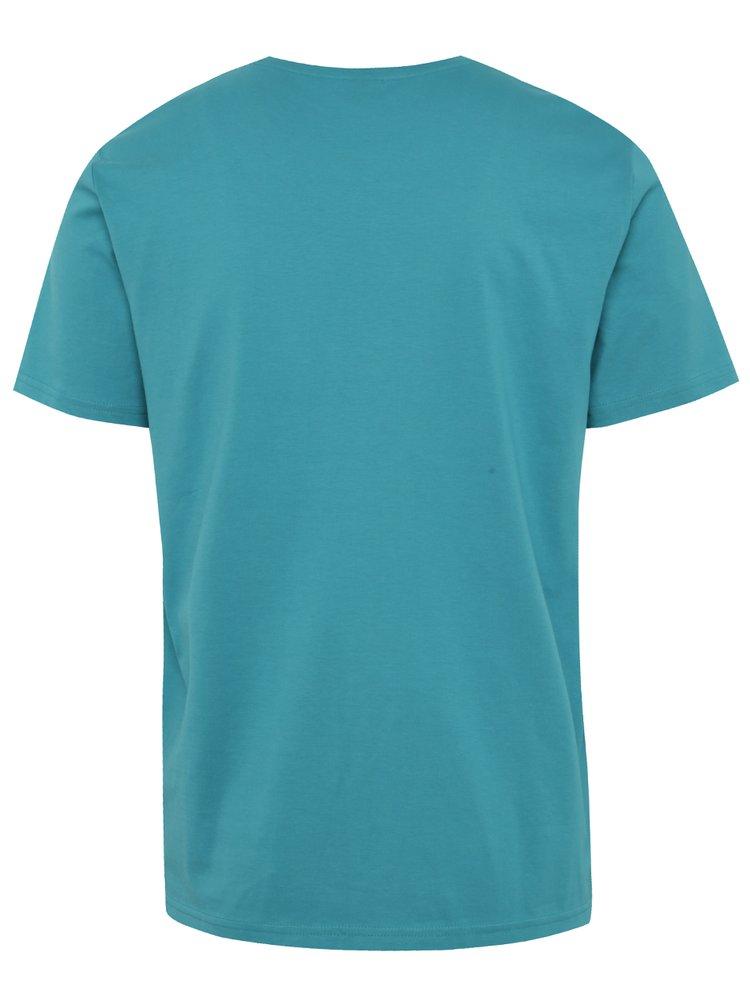 Krémovo-zelené pánské triko s potiskem s.Oliver