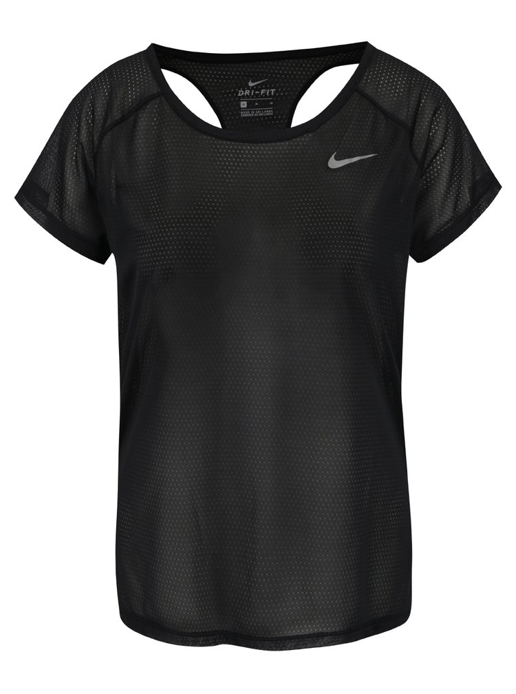 Černé dámské funkční tričko s průstřihy na zádech Nike