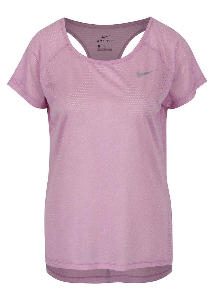 Světle fialové dámské funkční tričko s průstřihy na zádech Nike