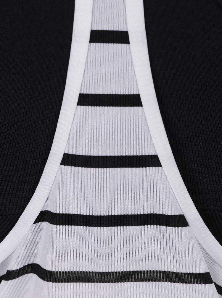 Černo-bílé dámské pruhované funkční tílko 2v1 Nike