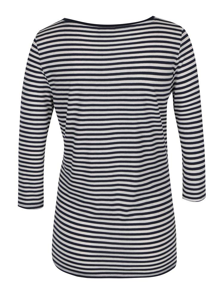 Krémovo-modré pruhované tričko s 3/4 rukávem VERO MODA Marley