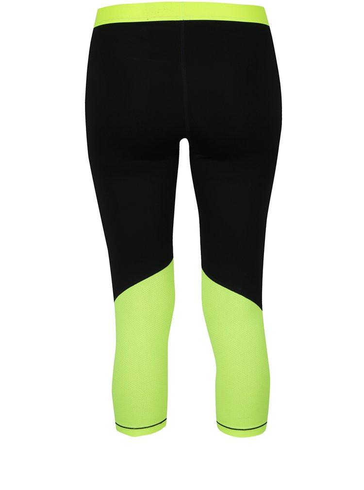 Colanți capri negru&galben neon Nike cu detalii în contrast