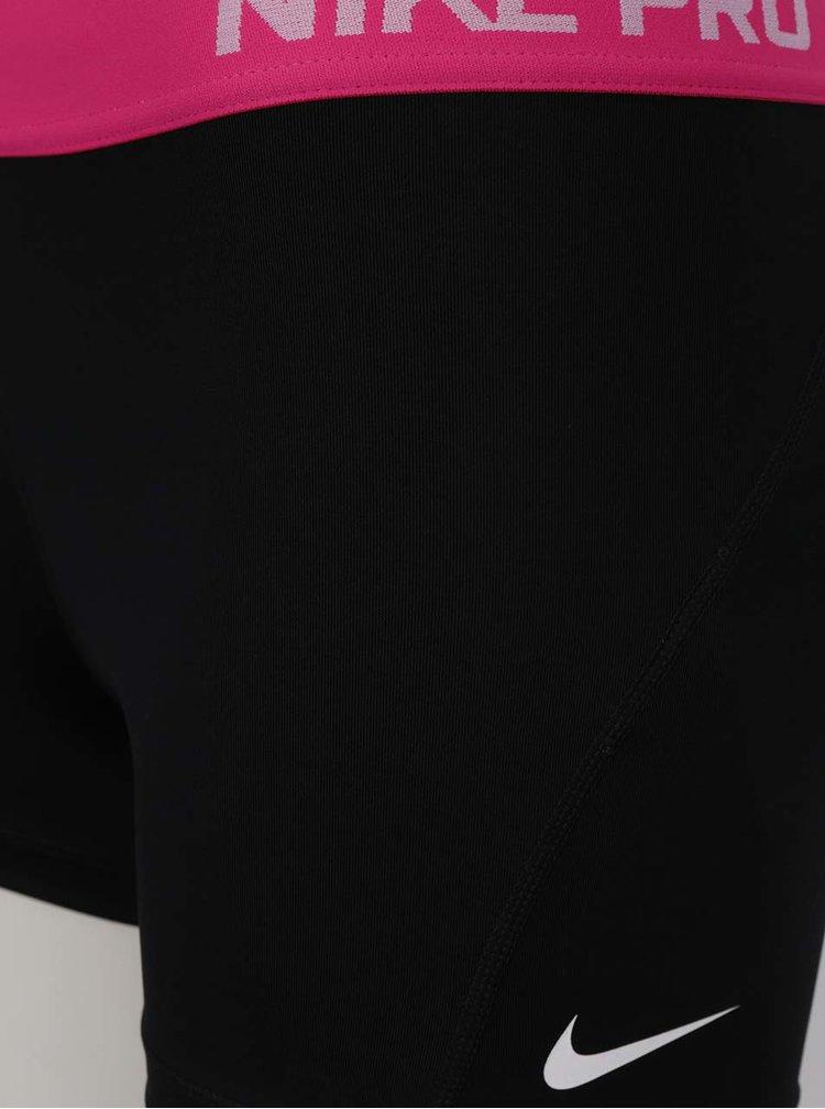 Pantaloni scurti negru&roz Nike cu talie elastica