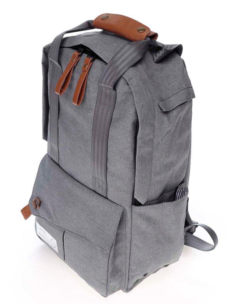 Světle šedý unisex voděodolný batoh s koženými detaily PKG