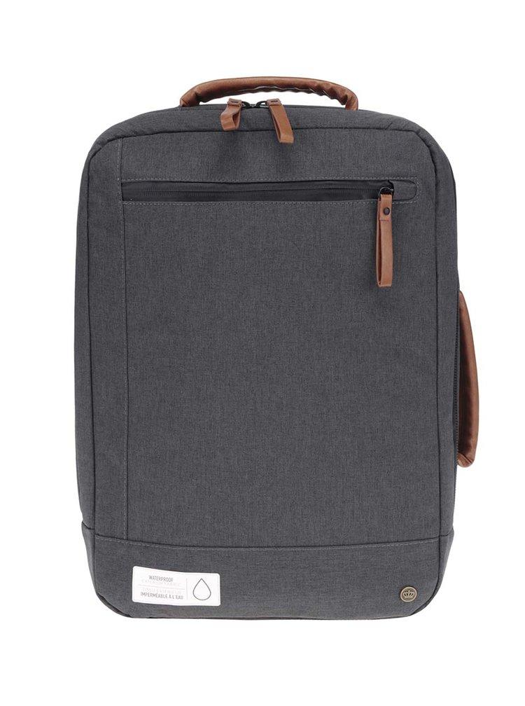 Tmavě šedý unisex voděodolný batoh/taška na notebook PKG