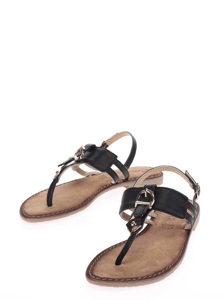 Černé kožené sandály s detaily ve zlaté barvě Tamaris