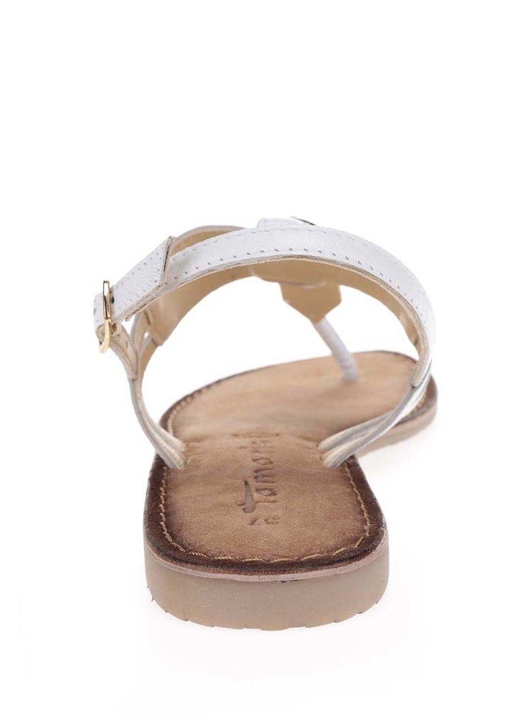Sandale flip-flop alb fildes din piele Tamaris