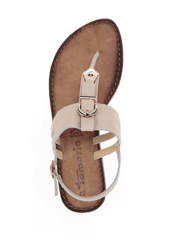 Béžové kožené sandály s detaily ve zlaté barvě Tamaris