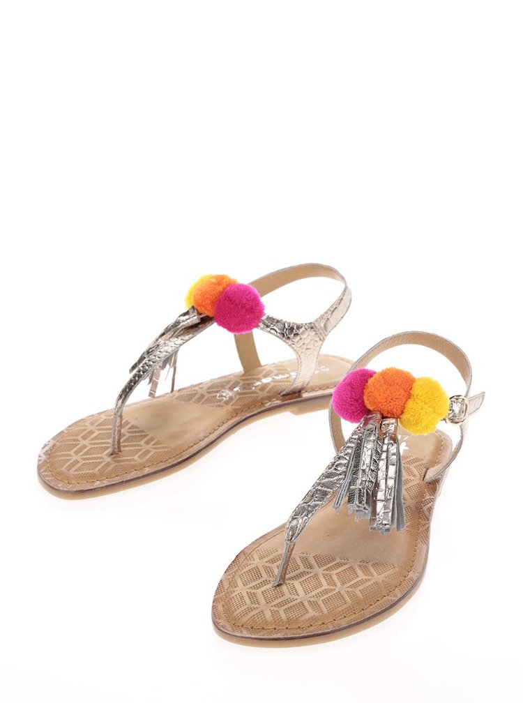 Sandale flip-flop argintii din piele Tamaris cu ciucuri