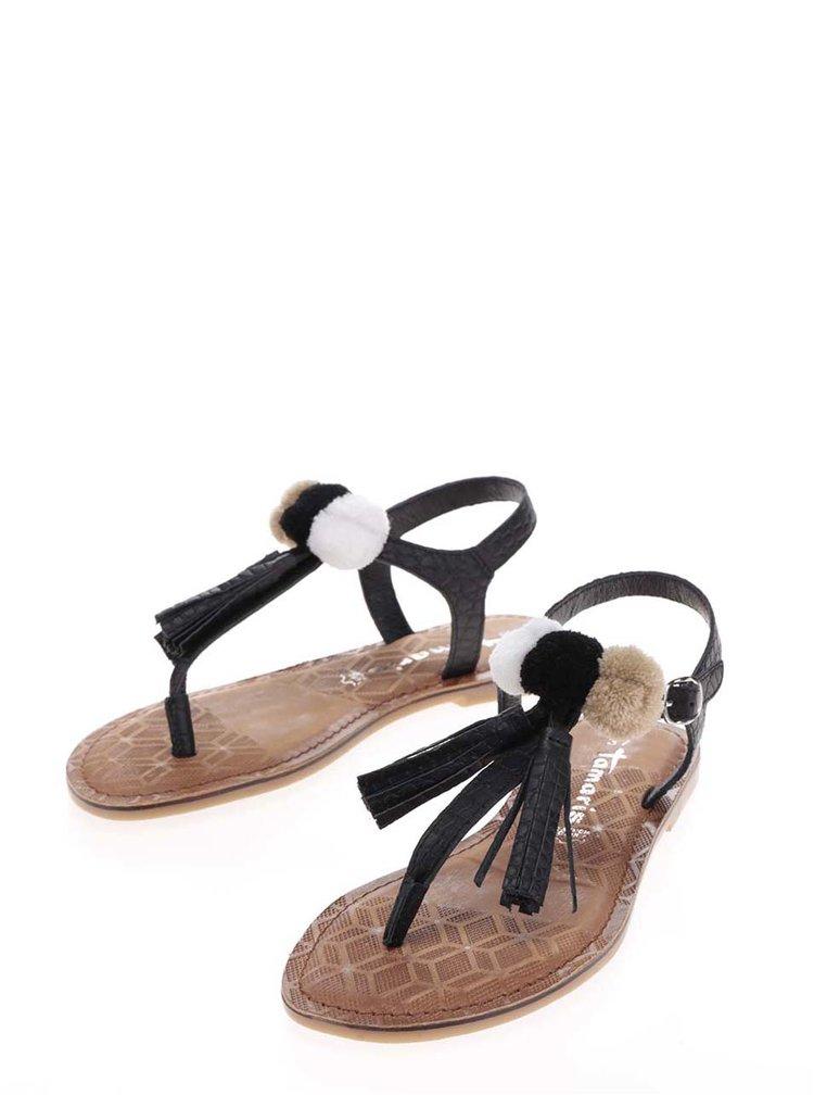 Sandale flip-flop negre din piele Tamaris cu ciucuri