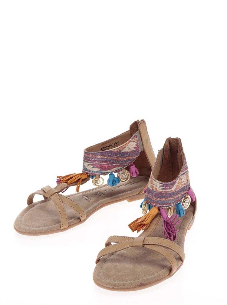 Sandale maro din piele Tamaris cu aplicatii decorative