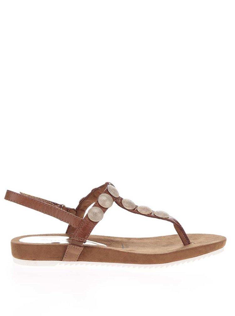 Sandale flip-flop maro Tamaris cu aplicatii metalice