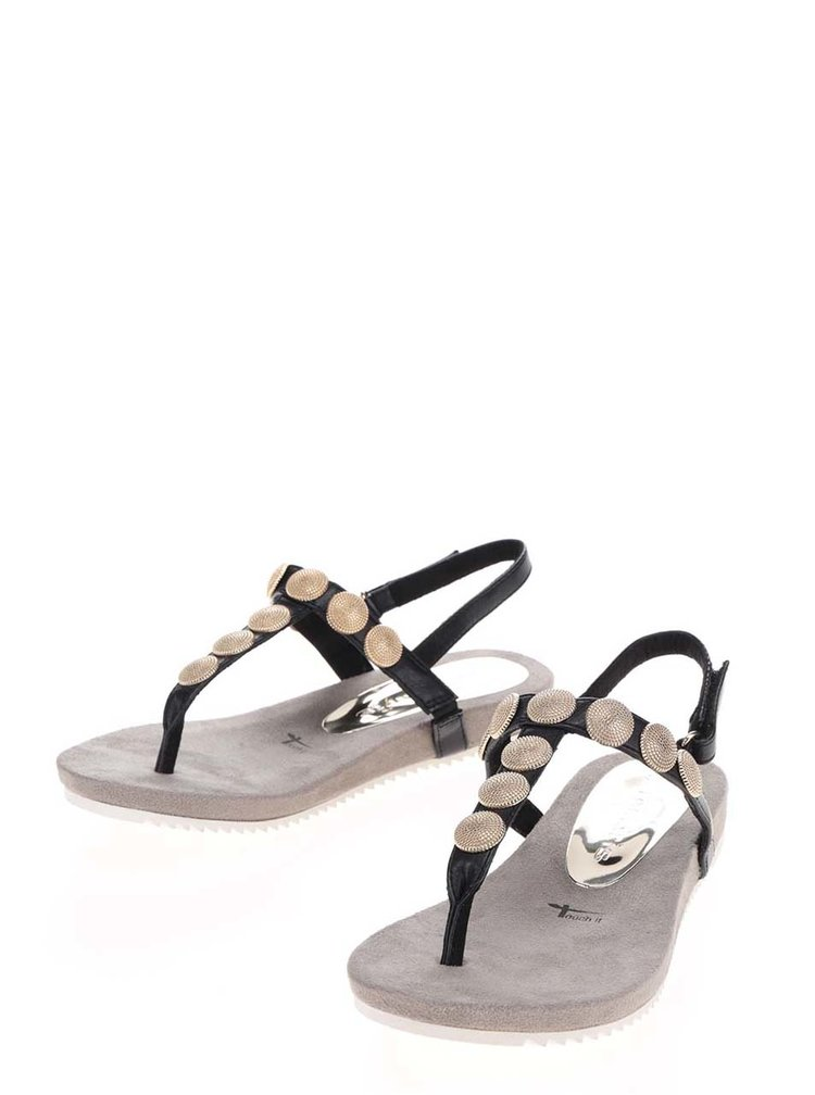 Černé sandály s detaily ve zlaté barvě Tamaris