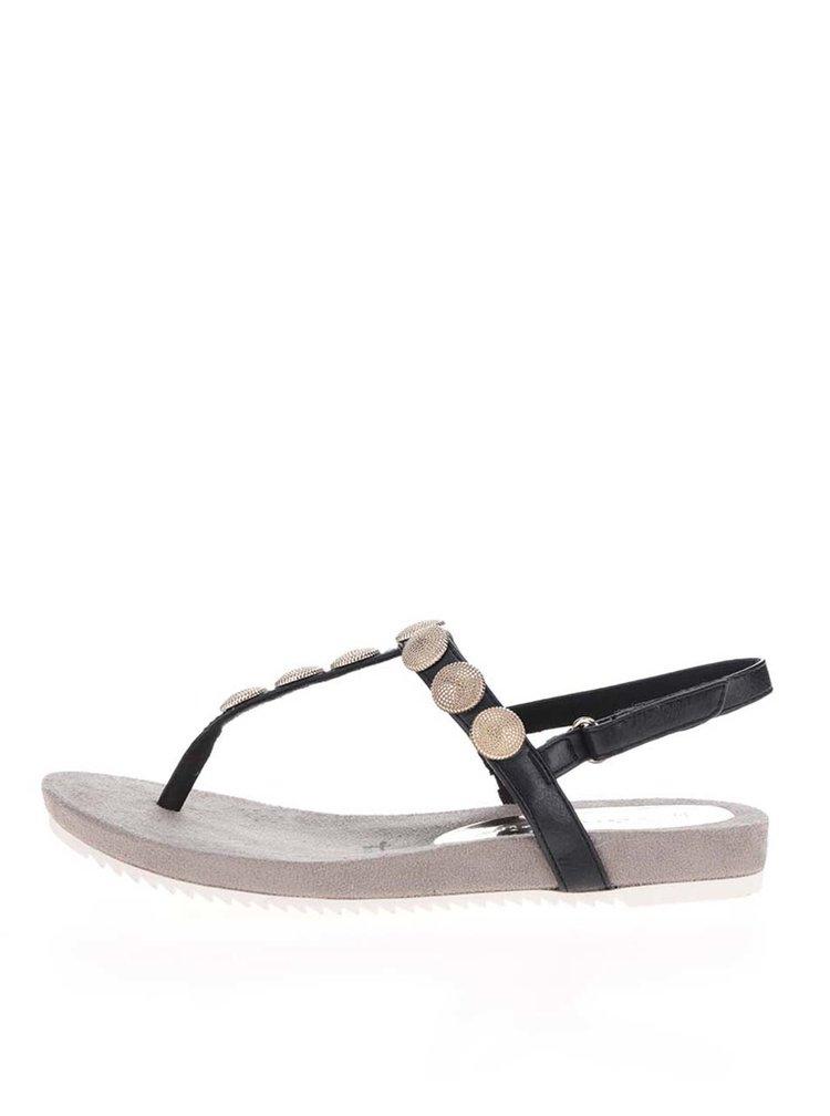 Sandale flip-flop negre Tamaris cu aplicatii metalice