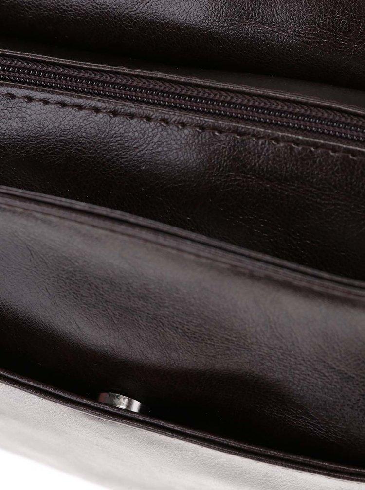 Tmavě hnědá pánská lesklá taška Solier