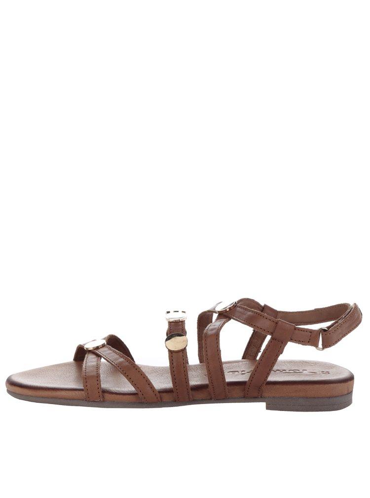 Hnědé kožené sandály s detaily ve zlaté barvě Tamaris