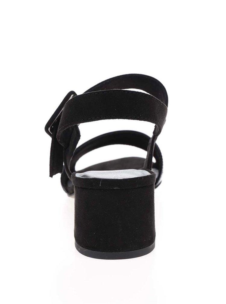Černé sandálky na širokém podpatku Tamaris