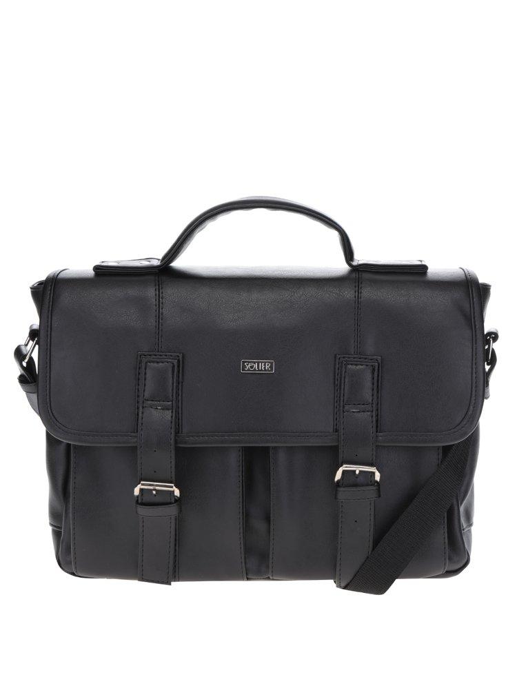 Černá pánská taška s předními kapsami Solier