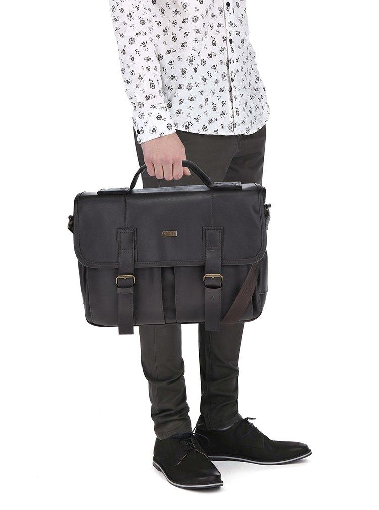 Tmavě hnědá pánská taška s předními kapsami Solier