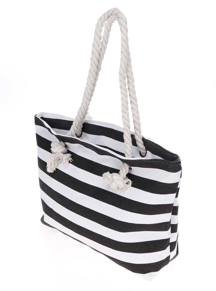 Černo-bílý pruhovaný shopper Haily's Stripey