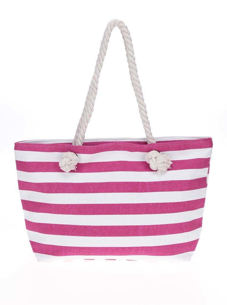 Geanta shopper roz& alb Haily's Stripey cu model in dungi
