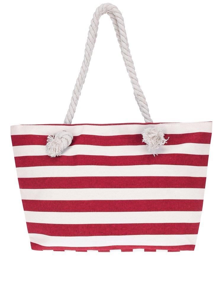 Červeno-bílá pruhovaná plážová taška Haily's Stripey